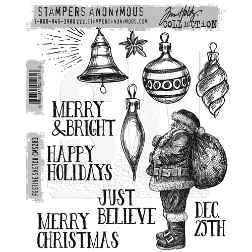 Tim Holtz Cling Rubber Stamps FESTIVE SKETCH CMS283 Preview Image