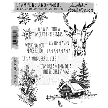 Tim Holtz Cling Rubber Stamps 2016 SCRIBBLE WOODLAND CMS282