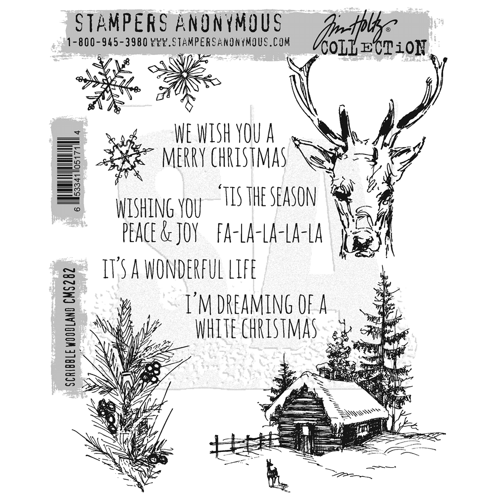 Tim Holtz Cling Rubber Stamps 2016 SCRIBBLE WOODLAND CMS282 zoom image