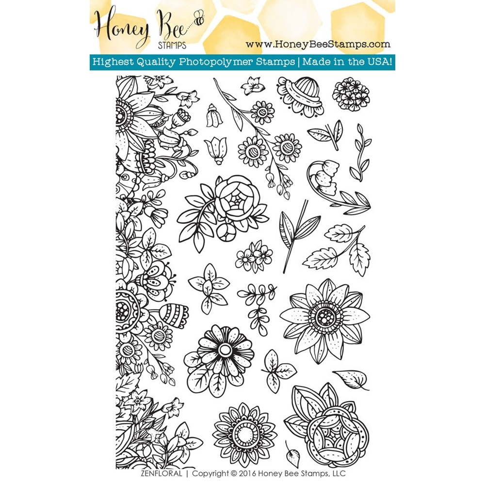 Honey Bee ZEN FLORAL Clear Stamp Set HBST33 zoom image