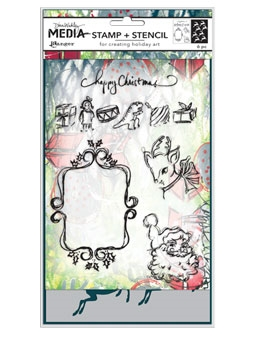 Dina Wakley Media SCRIBBLY VINTAGE HOLIDAY Stamp And Stencil Set MDZ52470