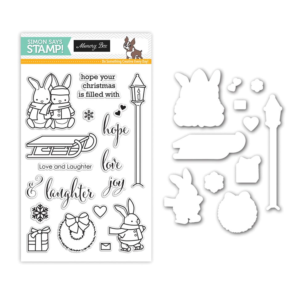 Memory Box Stamptember Stamp and Die Set LOVE AND LAUGHTER set276LL