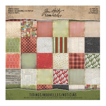 Tim Holtz Idea-ology TIDINGS Mini Stash 8 x 8 Cardstock Pack TH93325