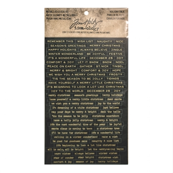Tim Holtz Idea-ology HOLIDAY TALK Metallic Stickers TH93347
