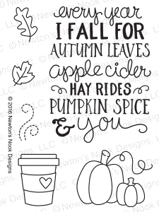Newton's Nook Designs FALL-ING FOR YOU Clear Stamp Set 20160903