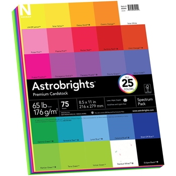 Neenah ASTROBRIGHTS Spectrum Pack Premium Cardstock 8.5 x 11 Assortment 80944