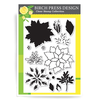 Birch Press Design HOLIDAY POINSETTIA Clear Stamps CL8111