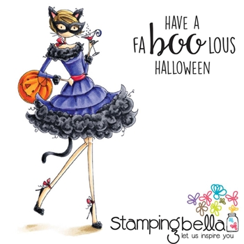 Stamping Bella Cling Stamp UPTOWN GIRL KITTY LOVES HALLOWEEN Rubber UM EB424