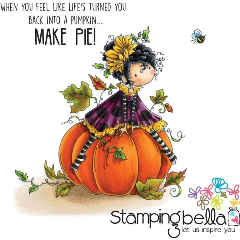 Stamping Bella Cling Stamp TINY TOWNIE PATRICIA LOVES PUMPKINS Rubber UM EB427 zoom image