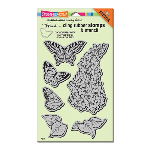 Stampendous Cling Stamps LILAC Set With Stencil UM Rubber CRS5093 Preview Image