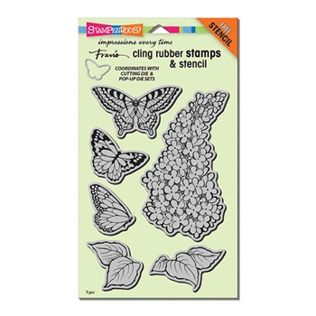 Stampendous Cling Stamps LILAC Set With Stencil UM Rubber CRS5093