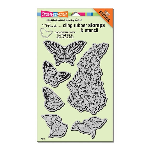 Stampendous Cling Stamps LILAC Set With Stencil UM Rubber CRS5093 zoom image
