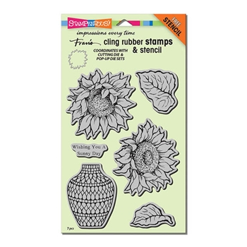 Stampendous Cling Stamps SUNNY VASE Set With Stencil UM Rubber CRS5094