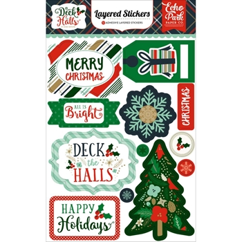 Echo Park DECK THE HALLS Layered Stickers DH116025*