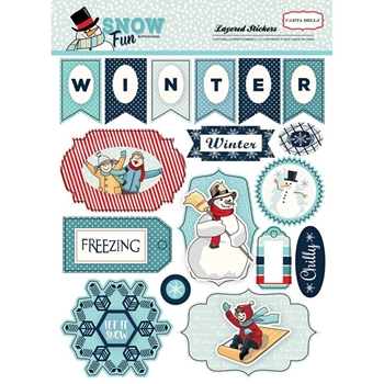 Carta Bella SNOW FUN Layered Stickers CBSF59025