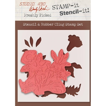 Wendy Vecchi Stencil And Rubber Cling Stamp Set FRESHLY PICKED WVSTST031*
