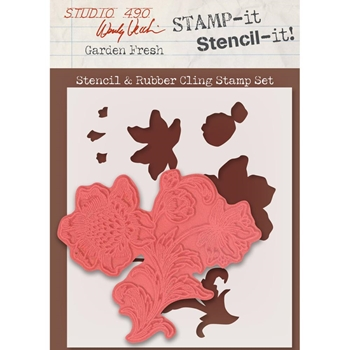 Wendy Vecchi Stencil And Rubber Cling Stamp Set GARDEN FRESH WVSTST030