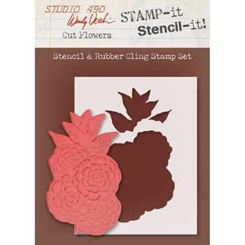 Wendy Vecchi Stencil And Rubber Cling Stamp Set CUT FLOWERS WVSTST029*
