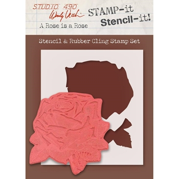 Wendy Vecchi Stencil And Rubber Cling Stamp Set A ROSE IS A ROSE WVSTST028 *