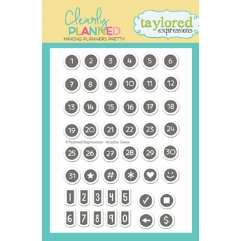 Taylored Expressions Clearly Planned NUMBER GAME Clear Stamp Set TECP12