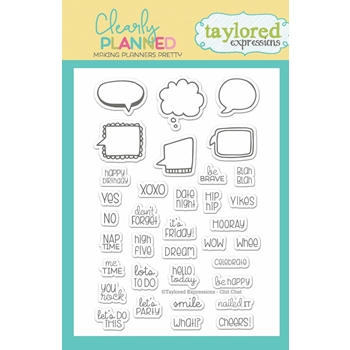 Taylored Expressions Clearly Planned CHIT CHAT Clear Stamp Set TECP11