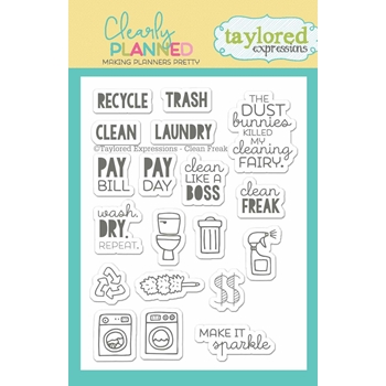 Taylored Expressions Clearly Planned CLEAN FREAK Clear Stamp Set TECP01