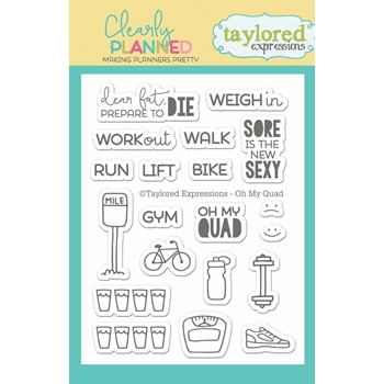 Taylored Expressions Clearly Planned OH MY QUAD Clear Stamp Set TECP03