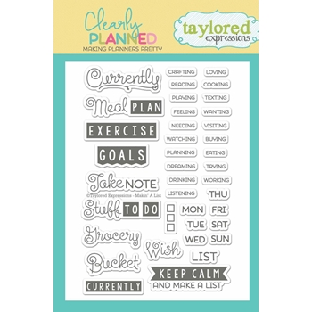 Taylored Expressions Clearly Planned MAKIN A LIST Clear Stamp Set TECP09