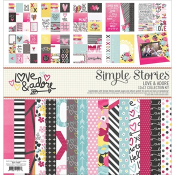 Simple Stories LOVE AND ADORE 12 x 12 Collection Kit 7600