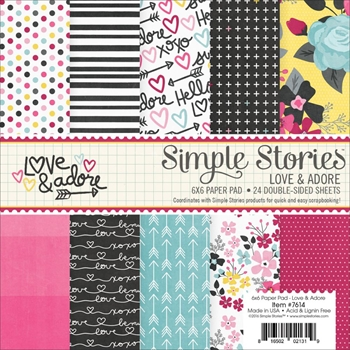 Simple Stories LOVE AND ADORE 6 x 6 Paper Pad 7614