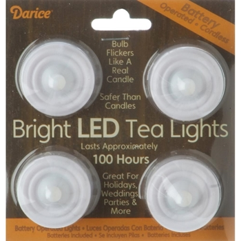Darice BRIGHT LED TEA LIGHTS Battery Operated Candle 620190