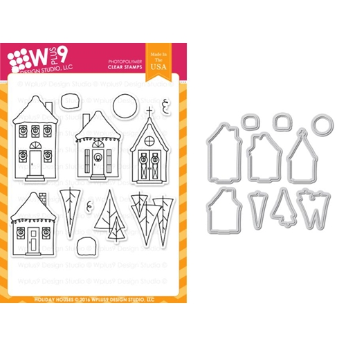 WPlus9 Holiday Houses Stamp Set and Die Combo