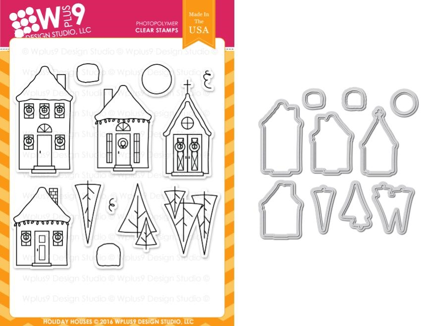 Wplus9 HOLIDAY HOUSES Clear Stamp And Die Combo WPLUS349 zoom image