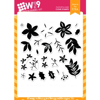 Wplus9 BE MERRY FLORALS Clear Stamps CLWP9BMF