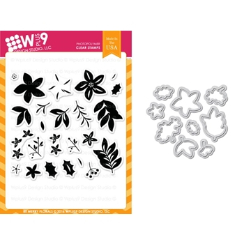 Wplus9 BE MERRY FLORALS Clear Stamp And Die Combo WPLUS356