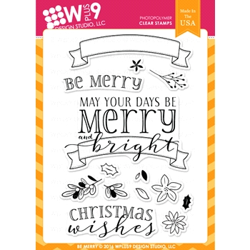 Wplus9 BE MERRY Clear Stamps CLWP9BEME