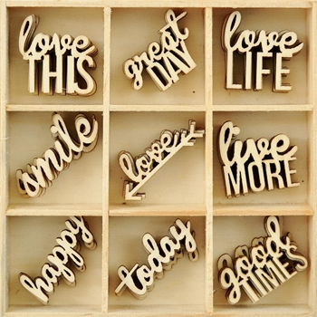Kaisercraft LITTLE WORDS Wooden Flourish Pack FL587