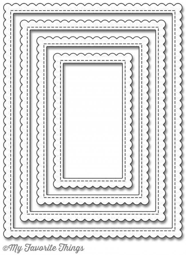 My Favorite Things STITCHED RECTANGLE SCALLOP EDGE FRAMES Die-Namics MFT924 zoom image