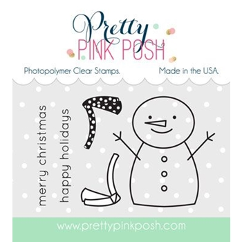 Pretty Pink Posh HAPPY SNOWMAN Clear Stamp Set