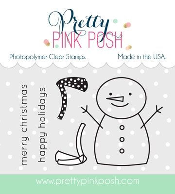 Pretty Pink Posh HAPPY SNOWMAN Clear Stamp Set zoom image