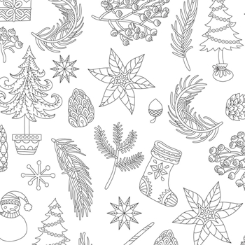 Kaisercraft CHRISTMAS FLORA Ready to Color 6x6 Inch Holiday Card with Envelope CL1014