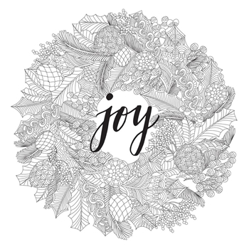 Kaisercraft JOY WREATH Ready to Color 6x6 Inch Holiday Card with Envelope CL1010