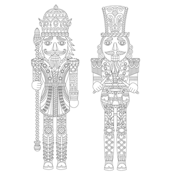 Kaisercraft NUTCRACKERS Ready to Color 6x6 Inch Holiday Card with Envelope CL1017