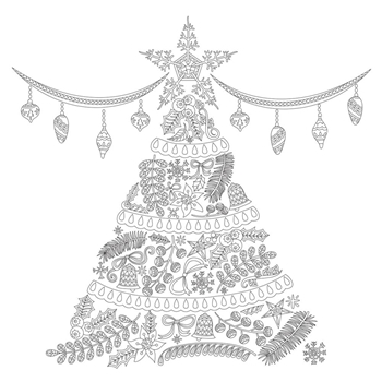 Kaisercraft O' CHRISTMAS TREE Ready to Color 6x6 Inch Holiday Card with Envelope CL1016