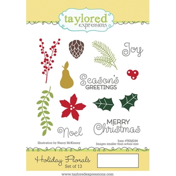 Taylored Expressions HOLIDAY FLORALS Cling Stamp Set TEMD86