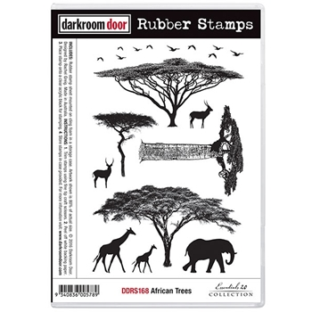 Darkroom Door Cling Stamp AFRICAN TREES Rubber UM DDRS168