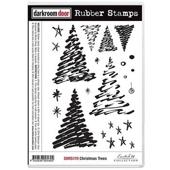 Darkroom Door Cling Stamp CHRISTMAS TREES Rubber UM DDRS170