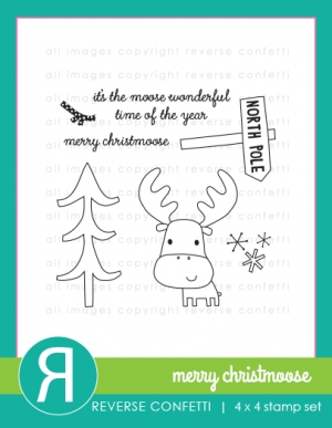 Reverse Confetti MERRY CHRISTMOOSE Clear Stamp Set * zoom image
