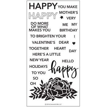 Concord & 9th HAPPY WORDS Clear Stamp Set 10129C9