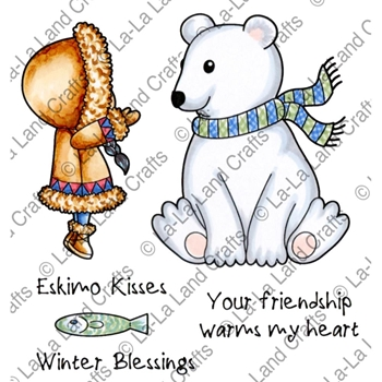 La-La Land Crafts Cling Stamp WINTER BLESSINGS Set 5321